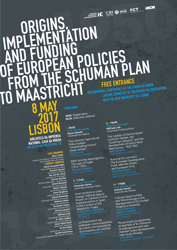 conferência Origins implementation and funding of European policies from the Schuman Plan to Maastricht